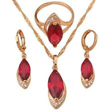 JS070 #7 Ruby Fashion jewelry set 18k gold Filled Women Earring Necklace Ring