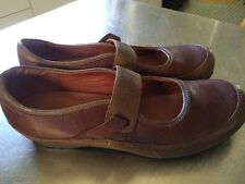 NWD CLARKS ARTISAN WOMENS 2 TONE BROWN TAUPE LEATHER MARY JANES FLATS SHOES SZ 8