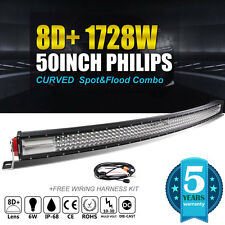 8D Quad-Row 1728W PHILIPS 50Inch Curved LED Light Bar Flood Spot Driving VS 52''