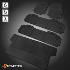 Black Heavy Duty All Weather Season Rubber Floor Mats Front+Rear+Trunk Truck SUV