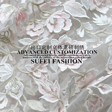 """3D Advanced Exquisite Customized Embroidery Floral Mesh Lace Fabric 47""""Wide/Yd"""