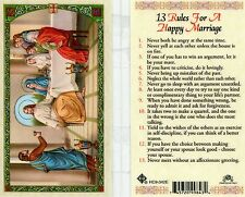 13 Rules for a Happy Marriage Prayer Card Catholic Laminated Holy Cards HC9-342E