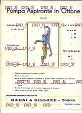 RAGNI GILLONE TORINO 1928 POMPA ASPIRANTE OTTONE MODELLO 300 PUBBLICITA
