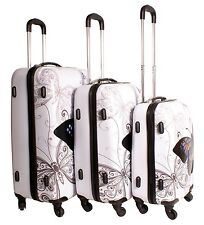 New 3 Piece Butterfly Luggage Suitcase Set 4 Wheels Travel ABS Trolley Bag Set