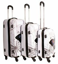 Butterfly 3 Pcs Luggage Suitcase Set 4 Wheels Travel ABS Trolley Bag Set