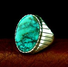 Native American Made Sterling Silver Men's Turquoise Ring Size 14 --- R32 D T