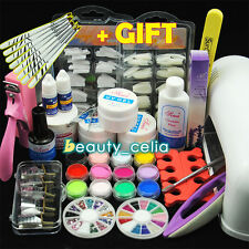 9W UV Dryer Lamp Builder Gel Nail Art Top Coat Acrylic Powder Tips Tools Kits