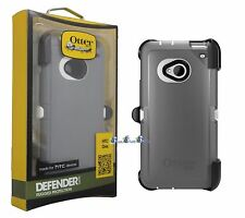 OtterBox Defender Case For HTC One M7 Gray White Cover & Holster Belt Clip OEM