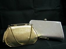 Vintage Clutch Handbags Lot of 2 Shiny Silver Gold w/Chain Handles Unique Clasp