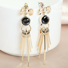 18K Yellow Gold Plated Simulated Black Agate Stylish Bow-knot Tassel Earrings