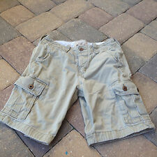 Hollister Beige Cargo Shorts Button Wait & Fly 100% Cotton Size 28  WOW!!!!