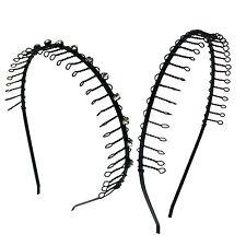 2 PCS Comb Headband Metal Wire Teeth with Crystal Rhinestones & Plain