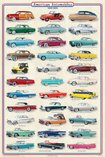 (LAMINATED) AMERICAN AUTOMOBILES CARS 1950-1959 POSTER (91x61cm) WALL CHART NEW