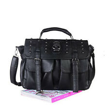 Lady Women's Pu Leather Bag Punk Skull Rivet Shoulder Handbag School Satchel 02b