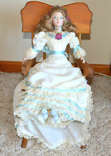 """Victorian Bendable Porcelain Doll Ivory Dress with Ruffles & Lace 16"""""""
