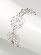 """6-7"""" (18cm) Solid Sterling Silver Three Roses Bracelet 4g + 18mm Wide BEAUTY"""