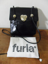 FURLA~VINTAGE~BLACK LEATHER HEART CROSSBODY SHOULDER BAG~CUTIE L@@KIE!