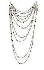 "PAULA ABDULS GOLDTONE MULTI STRAND BEAD & CULTURED PEARL 19""L NECKLACE QVC"
