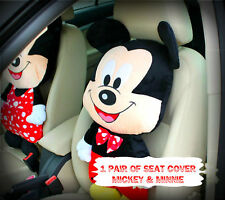 MICKEY & MINNIE MOUSE Cartoon Figure Home Use Car Use Seat Cover Cushion Set