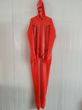 Latex Rubber Catsuit Red and Black Hood Handsome Bodysuit Suit Size:XS-XXL