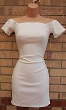 FOREVER 21 WHITE OFF THE SHOULDER BANDAGE TUBE BODYCON PENCIL SEXY DRESS S 8 10