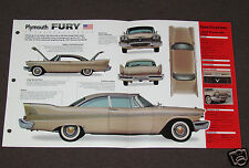 1957 1958 1959 PLYMOUTH FURY 350 Car SPEC SHEET BOOKLET PHOTO BROCHURE