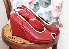 Vintage 1930'S 40'S CHERRY RED leather peep toe WEDGE HEELS designer MOLLINI 5