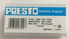 """Presto UK 7/16"""" x 20tpi HSS UNF Set of 3 taps / Direct from RDGTools"""
