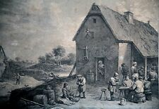 GRAVURE-DAVID TENIERS-THOMAS MAJOR-COLLECTION PRINCE DE GALLES-TAVERNE-ESTAMPES-