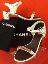 16P NIB CHANEL WHITE TWEED GOLD  CHAIN CC PEARL LOGO SANDALS LOW HEEL PUMPS 37.5