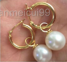 HOT AAA 10-11MM natural south sea white pearl earrings 14K SOLID GOLD MARKED