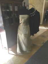 Ivonne D by Mon Cheri NWT Gold Taffeta Sheath Formal Dress W/Jacket Size 10