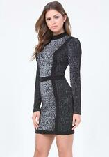 BEBE CAROLINA LEOPARD MOCK NECK DRESS NEW NWT $159 SMALL S