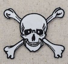 Iron On Embroidered Applique Patch White Jolly Roger Skull Crossbones Large