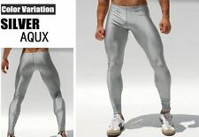 Men Medium Metallic Silver Compression Running Tights Training Activewear Gay UK