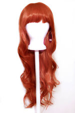 "27"" Long Layered Wavy Cut with Short Bangs Maple Brown Wig Synthetic Cosplay NEW"
