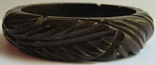 VINTAGE BROWN DEEP CARVED LEAVES BAKELITE BANGLE BRACELET