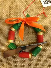 Shotgun Wreath Christmas Tree Ornament Ribbon Red Green Shells with Gun