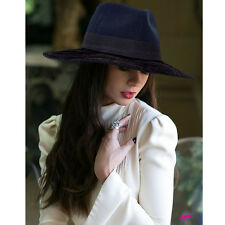New ADORNA by MILANO Wide Brim Soft Felt Fedora Women's Hat Size Large - Black