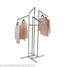 """4 Way Clothing Garment Display Rack With 4 Slanted Arms 1"""" Square 