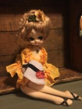 Large Vintage Stockinette Sitting Pose Doll Yellow Dress Big Eyes
