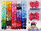 Lot 6/12/18/24/50PC 5inch Solid Grosgrain Ribbon big Hair Bows Clip(50 colors)