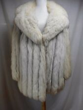 Real Fox Fur Coat Blue Silver L 12 14  Lined Pockets Fluffy Excellent Snow Bunny