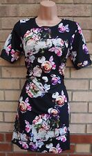 RIVER ISLAND BLACK MULTI COLOUR FLORAL BAGGY TUNIC CAMI SHIFT TEA RARE DRESS 10