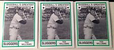 Ted Williams Lot 1982 Vintage Boston Redsox Hall Of Fame Baseball (3 Cards) Old