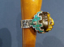 CECILIA TONO- CARVED TIGER EYE MAYAN MAN & STERLING RING - 5O'S-60'S - SIZE 6