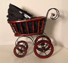 Antique Style Victorian Baby Stroller Buggy Carriage Wicker Wood Home Decor