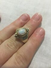 Antique 9ct Gold Opal Ring Gemstone Victorian Precious Stone Mourning Pearl