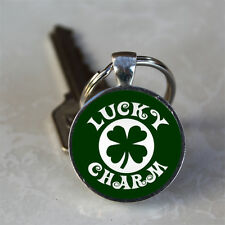 Lucky Charm 4 Leaf Clover Green Background Glass Dome Keychain (GDKC0161)
