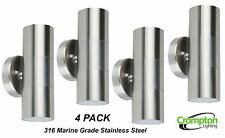 4 x 316 Stainless Steel Up/Down Outdoor Wall Light - 2 x 50W 240V GU10 Halogen